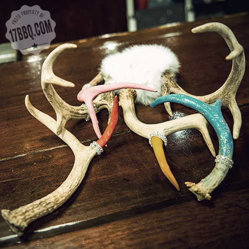 Antlers that have been painted and bedazzled