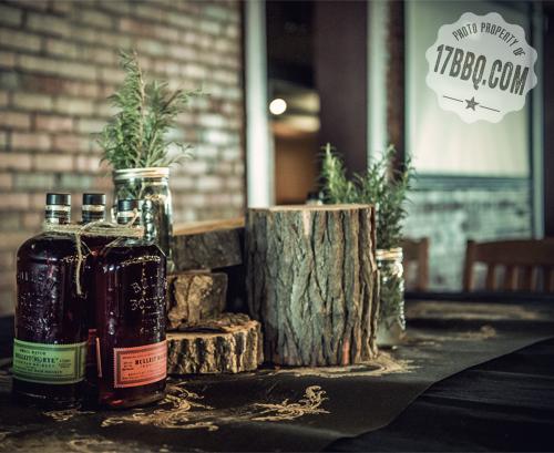 Bulleit bottles, twine, fresh rosemary and mason jars