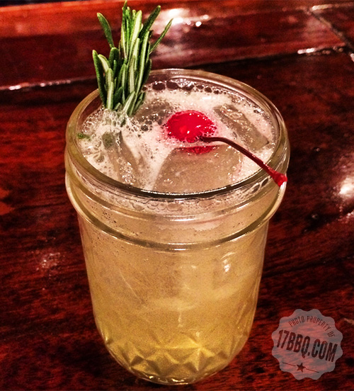 #17ST Party in a Mason Jar© Bee Sting™: Wild Turkey American Honey and Smartini Sweet & Sour garnished with rosemary via 17bbq.com