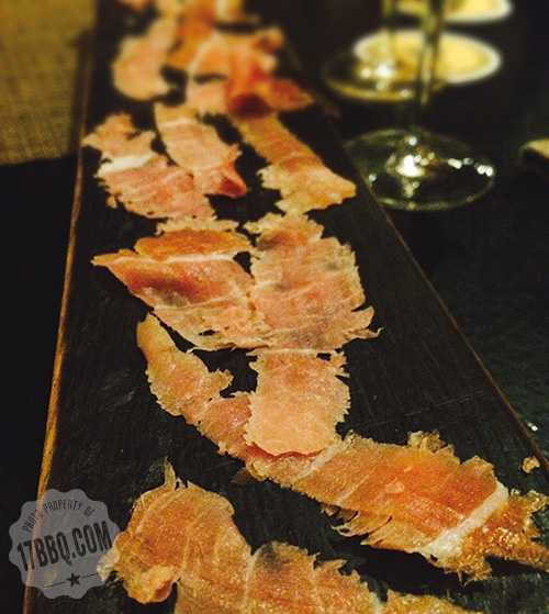 Country ham served on a barrel stave