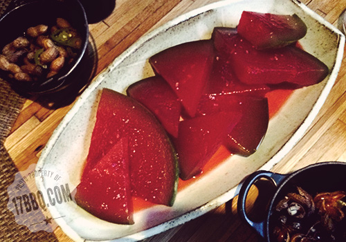 Cheerwine-compressed watermelon