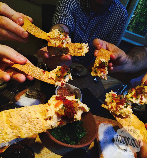 Benne Seed Crackers with pimiento cheese