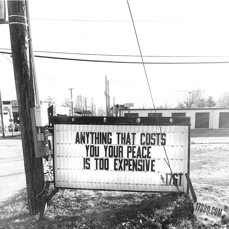 Anything That Costs You Your Peace is Too Expensive.